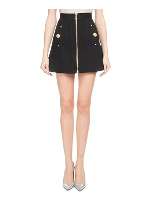 Balmain A-Line Zip-Front Cotton Canvas Skirt with Side Pockets