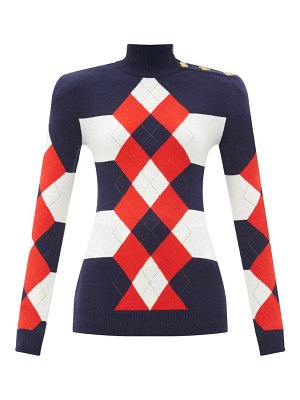 Balmain argyle striped wool-blend sweater