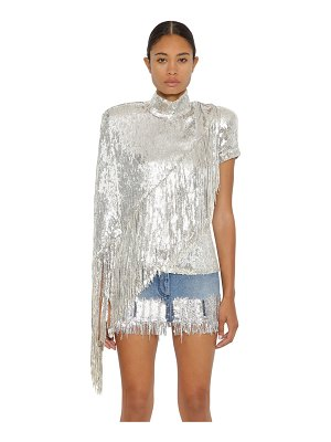 Balmain Asymmetric fringed stretch sequin top