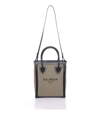 Balmain B Army 26 Logo Canvas/Leather Crossbody Shopper Tote Bag