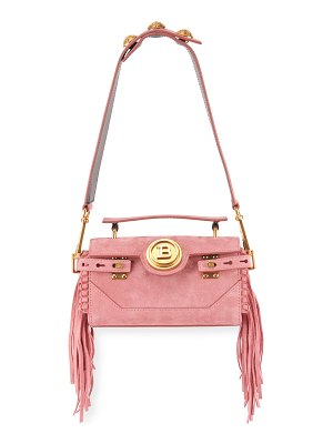 Balmain BBuzz Suede Fringe Shoulder Bag