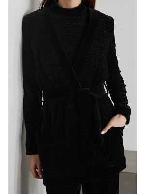 Balmain belted flocked cotton-blend velvet cardigan