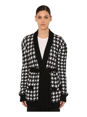 Balmain Belted houndstooth viscose knit cardigan