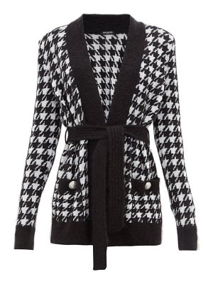 Balmain belted long line houndstooth cardigan