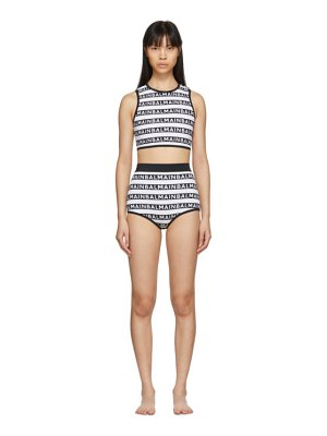 Balmain black and white logo stripes bikini