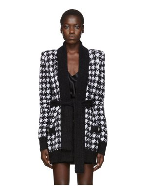Balmain black and white mohair houndstooth belted cardigan