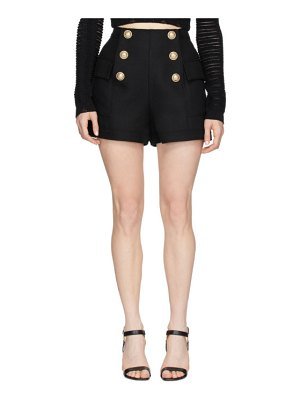 Balmain black high-waist 6-button shorts