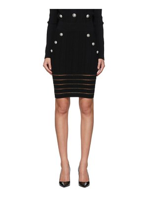 Balmain black open knit skirt
