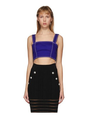 Balmain blue denim short tank top