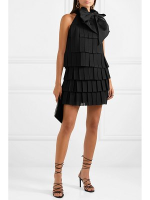 Balmain bow-embellished pleated knitted mini dress