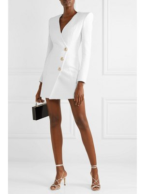 Balmain button-embellished cotton-blend tweed mini dress