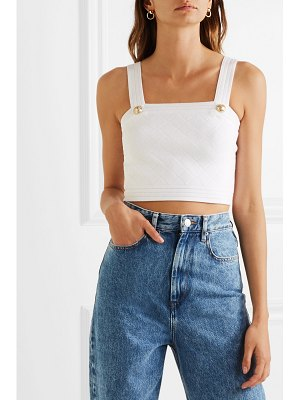 Balmain button-embellished cropped ribbed jersey top