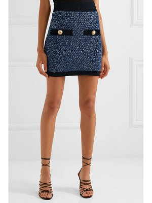 Balmain button-embellished metallic tweed mini skirt
