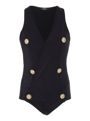 Balmain button-embellished one-piece swimsuit