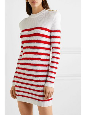 Balmain button-embellished sequined striped stretch-knit mini dress