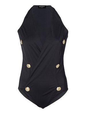 Balmain button-embellished stretch-jersey swimsuit size: 34