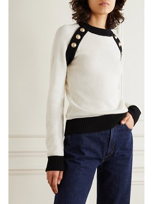 Balmain button-embellished two-tone wool and cashmere-blend sweater