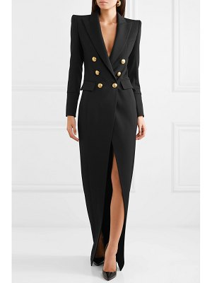 Balmain button-embellished wool-twill gown