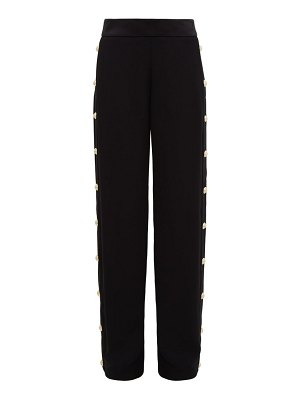 Balmain buttoned crepe wide leg trousers