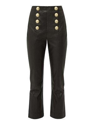 Balmain buttoned leather kick flare trousers