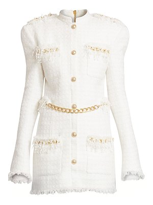 Balmain chain-trimmed tweed dress