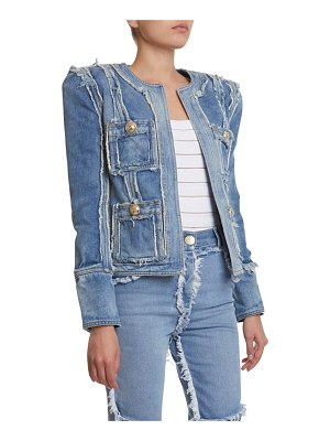 Balmain Collarless Denim Patchwork Jacket