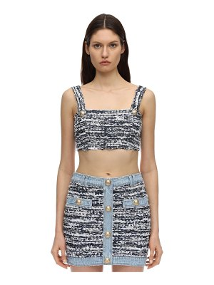 Balmain Cotton blend tweed bra top