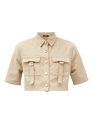 Balmain cropped cotton-blend safari shirt
