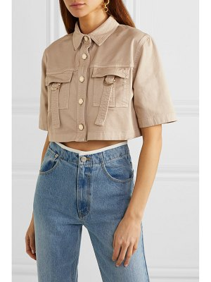 Balmain cropped cotton-blend drill shirt