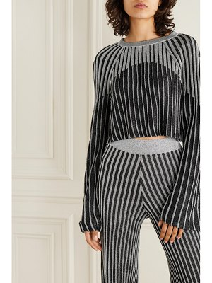 Balmain cropped metallic ribbed-knit top