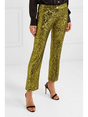 Balmain cropped sequined stretch-tulle flared pants