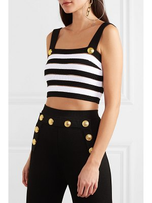 Balmain cropped striped ribbed jersey top