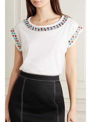 Balmain crystal-embellished cotton-jersey top