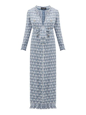 Balmain double breasted belted bouclé tweed coat