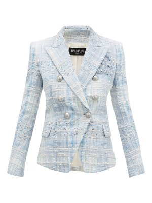 Balmain double breasted check tweed blazer