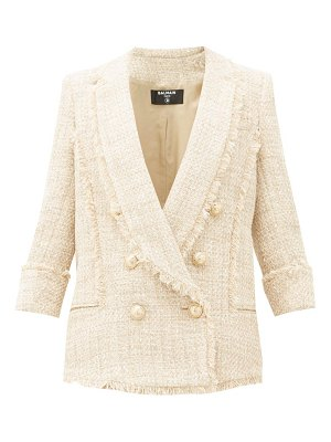 Balmain double-breasted cotton-blend tweed jacket