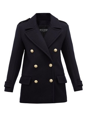 Balmain double breasted felted virgin wool coat
