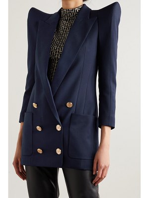 Balmain double-breasted padded wool-twill blazer