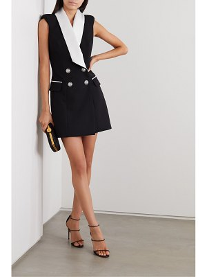 Balmain double-breasted satin-trimmed wool mini dress