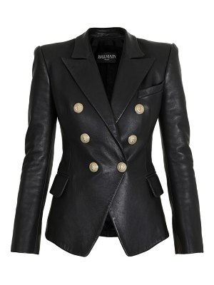 Balmain double breasted six button leather jacket