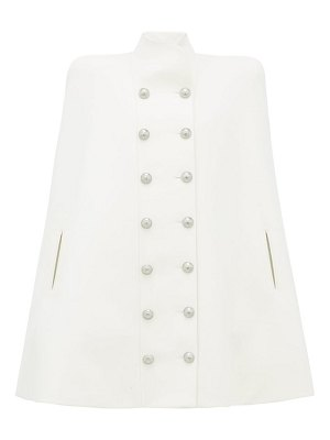 Balmain double breasted wool blend cape
