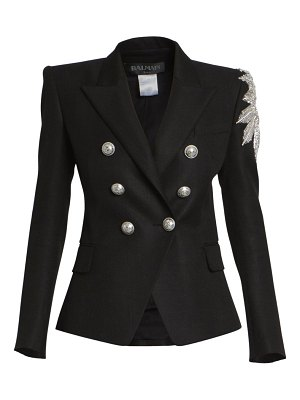 Balmain embellished double breasted wool-blend jacket