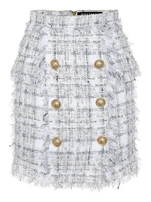 Balmain Exclusive to Mytheresa – Metallic checked tweed miniskirt