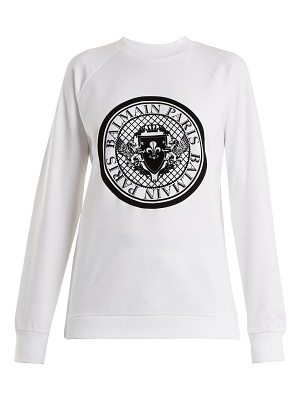 Balmain Flocked-logo cotton swearshirt