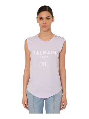 Balmain Flocked logo jersey sleeveless t-shirt