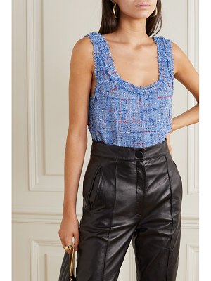 Balmain frayed embellished metallic tweed tank