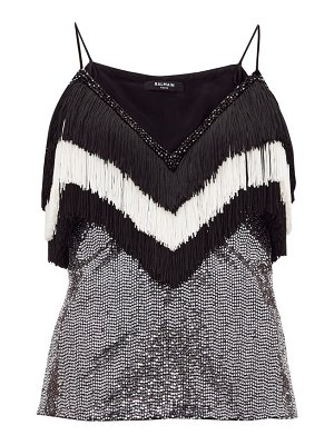 Balmain fringed sequinned top