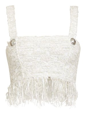Balmain fringed tweed bra top