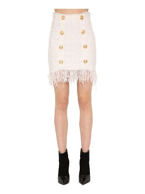 Balmain Fringed tweed mini skirt