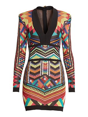 Balmain geometric jacquard bodycon dress